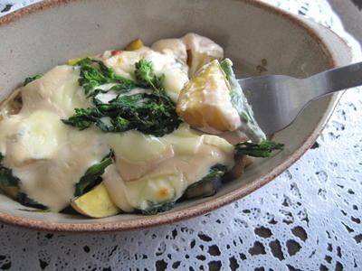 酒粕豆乳ホワイトソース de ジャガイモと菜の花のグラタン
