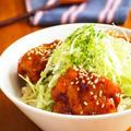 とろみ黒酢チキン丼@キャベツ盛り♪ by みぃさん
