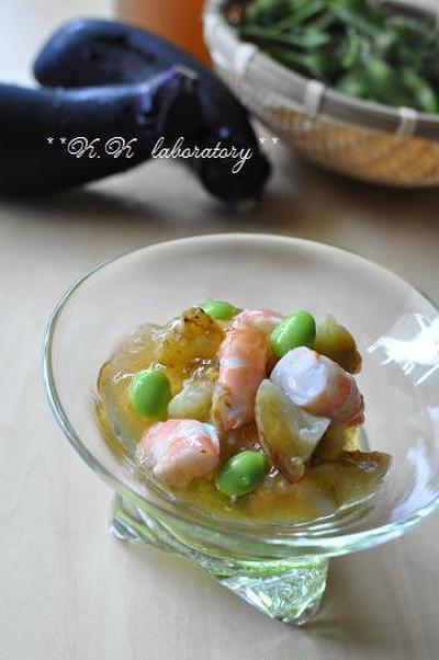 焼きナスと茶豆と海老のジュレポン和え