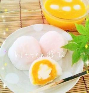 かぼちゃde和菓子パラダイス♪チーズin大福&冷やし汁粉