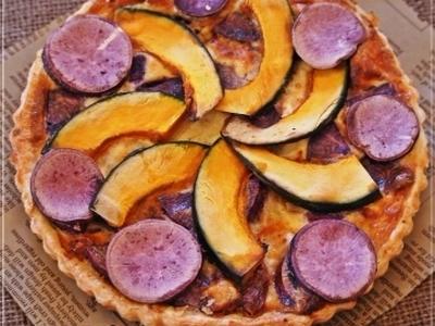 >レシピ*南瓜と紫芋とブルーチーズのキッシュ by mochicoさん