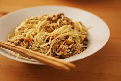キノコのマリネde納豆スパゲティ