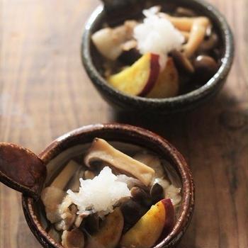 ■【ヤマキだし部】おだしで頂く茸とさつまいもと豚肉のさっと煮♪