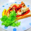 オープントーストのレシピ 「チキンとエリンギのチーズオープントースト」