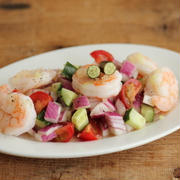 【簡単おつまみレシピ】海老のセビーチェとフィンガーライム