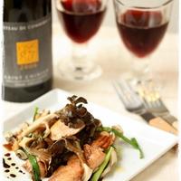 鮭と舞茸のガーリックソテー 赤ワインバルサミコソース