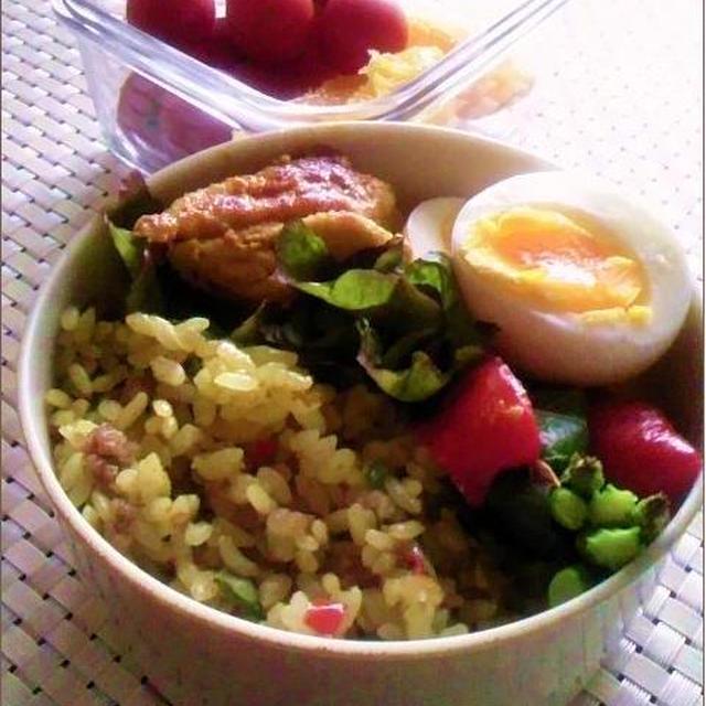 6.28【レシピ】タンドリーチキンとドライカレーのお弁当