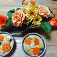 お花とパンプキンシチューのハロウィンコ―デ