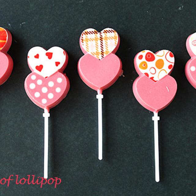 ハートのかわいいロリポップチョコレート☆バレンタインに配れるお菓子
