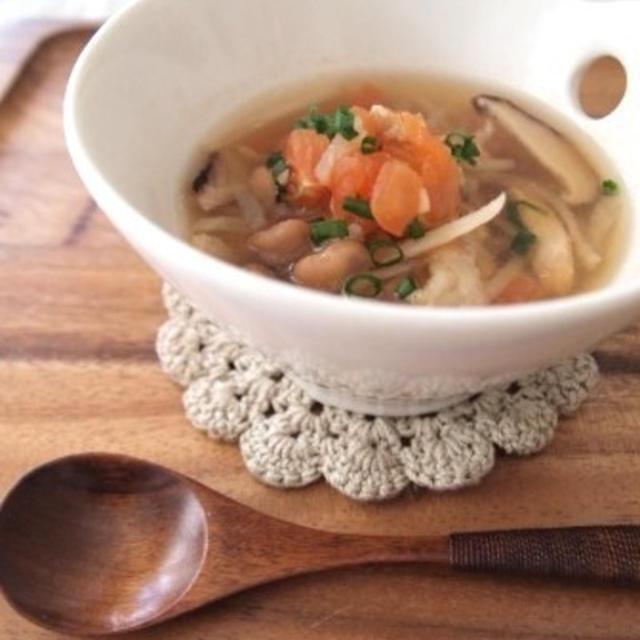 節分のお豆で☆酸辣湯風ヘルシースープ