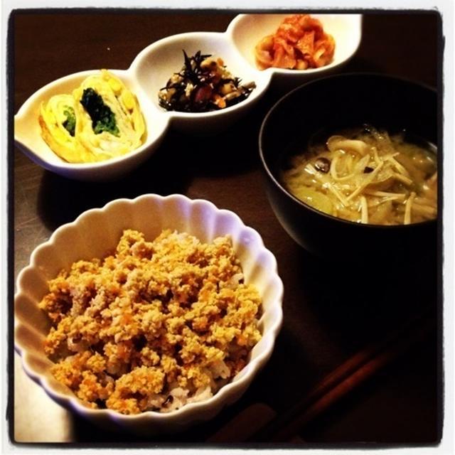 高野豆腐のそぼろごはん