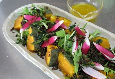 【再掲載:ドレッシングレシピ】沖縄極太もずくとカボチャでサラダに♪