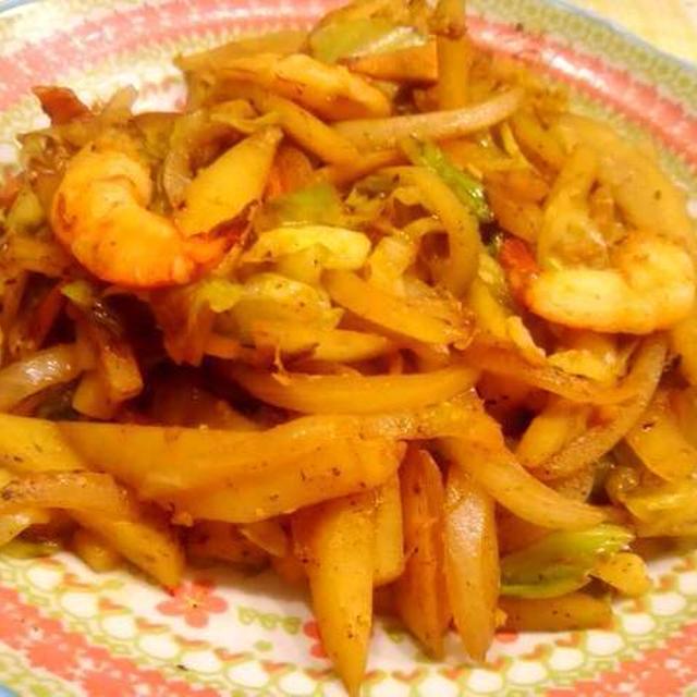 海老と野菜のピリ辛味噌炒め