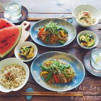 朝ごはん☆たっぷり夏野菜のチャプチェ