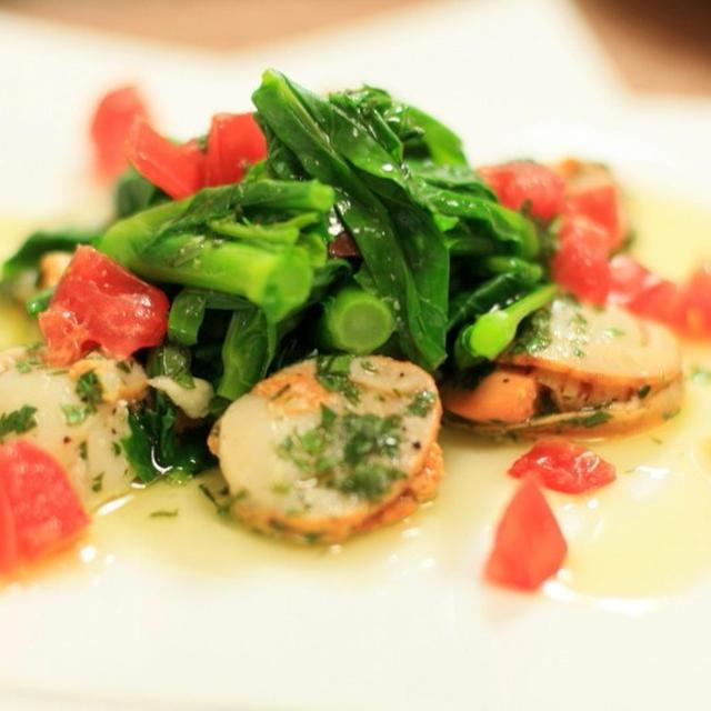 菜花とベビーホタテのオリーブオイルマリネ