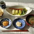 一汁一菜ごはん ◆ジャンボ生なめことニラの味噌汁、豚白菜ロールのレンジ蒸し ピーナッツだれと塩麹だれ