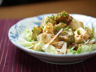 焼きなすと豆腐のサラダ & Dish forDish for JAPAN 宝島社チャ リティ本「レシピブログ少ない電力&火力でおいしくつくる」