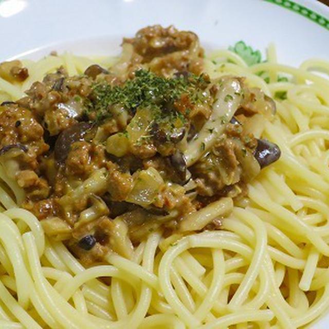 大豆のお肉で 味噌風味のスパゲティミートソースを作りました