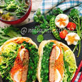 菜の花とハンバーグの油揚げわんぱくサンド by Misuzuさん