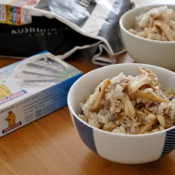 「千葉県産コシヒカリ」でオイルサーディンときのこのバター醤油ごはん