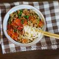 【リメイクレシピ】麻婆豆腐でトマトの坦々そうめん