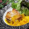 【おうちごはん】タカラ本みりんと料理のための清酒で、チキンステーキのオレンジソース添え。
