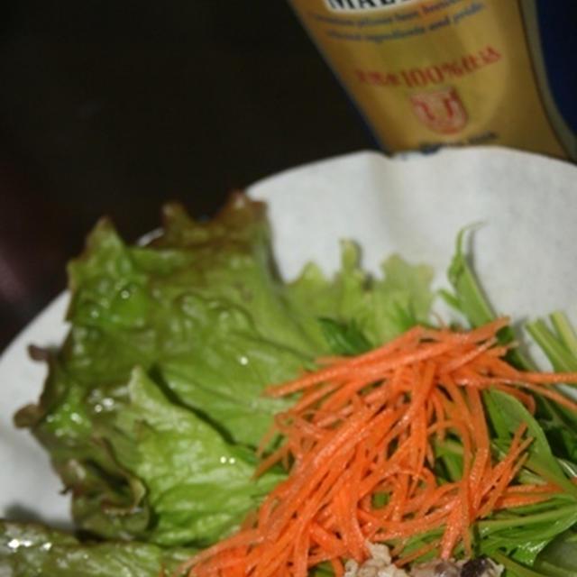 プレミアムモルツ  鶏ひき肉の味噌炒め生春巻き
