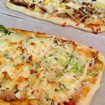 キャベツたっぷりピザできました