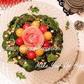 生ハムの薔薇で彩り☆リースサラダ
