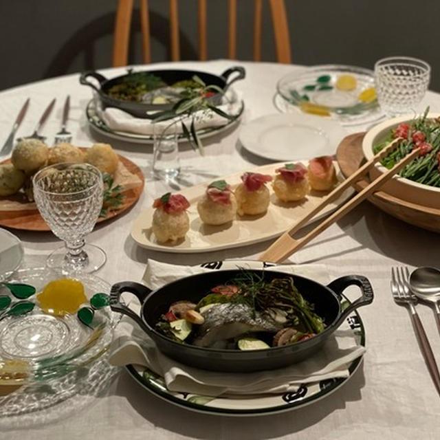 2種のゼッポリーニとスズキのオーブン焼きの夜ごはん