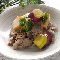 ボーソー米油部♪ボリューム満点!さつま芋と豚肉の麺つゆ炒め
