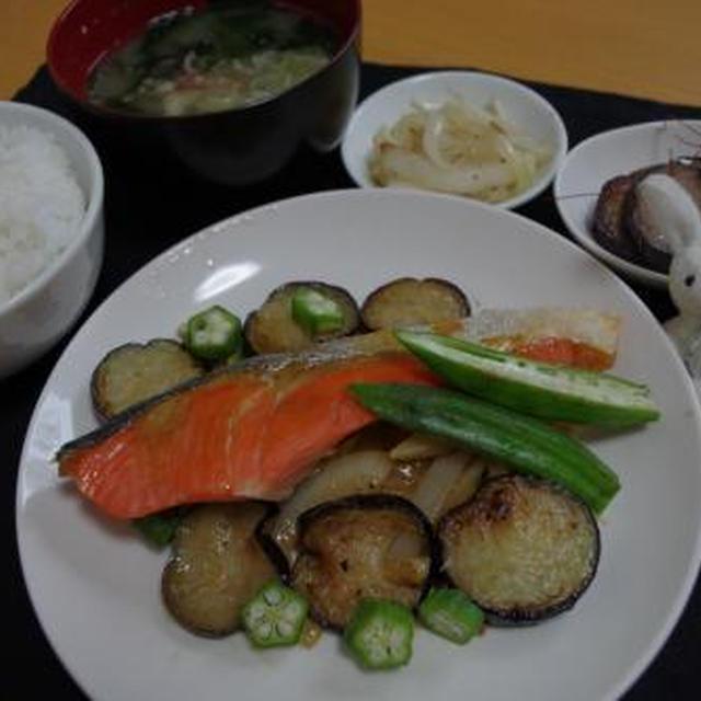 夏野菜と鮭のカレーマヨ