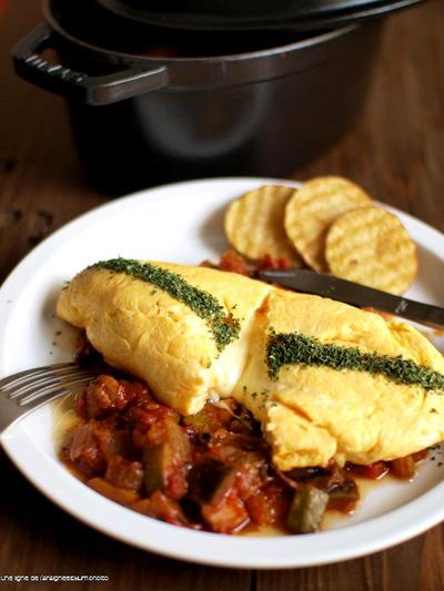 チーズオムレツに、鶏野菜カチャトーラ風。