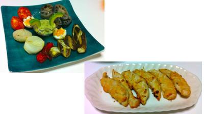 焼き野菜のアボガドソース、鶏ササミの明太子焼き 他