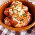 Wチーズトマトソースの柔らか煮込みハンバーグ*誕生日のクラッカー