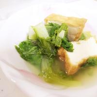 白だしさっと煮レシピ「山東菜と厚揚げの白だしさっと煮」
