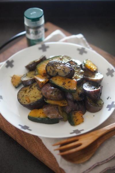 イタリア風 茄子とカボチャのバジル炒め