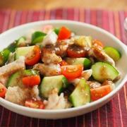 鶏むね肉のサラダ風、玉ねぎソース