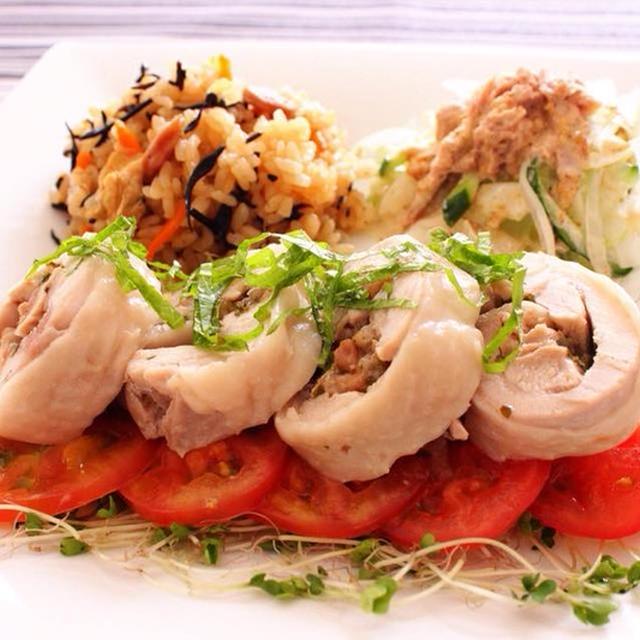 火を使わないワンプレートレシピ♪さっぱり梅鶏とひじきとウィンナーの炊き込みご飯