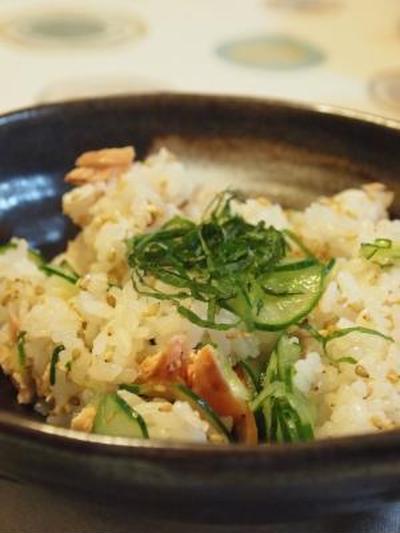夏のオススメ♪鮭ときゅうりの混ぜ寿司★時短&暑さ対策♪ピリ辛なす肉味噌★キラキラカフェ とねりこでランチ
