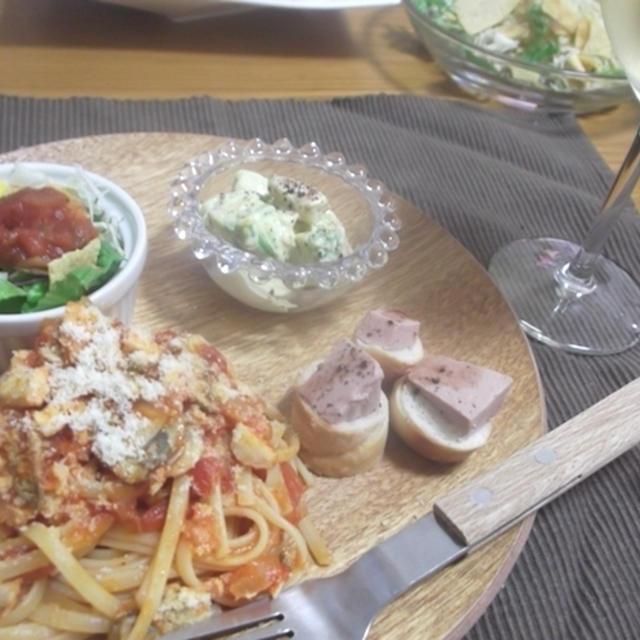 手作りツナとマッシュルームのアマトリチャーナのワンプレート
