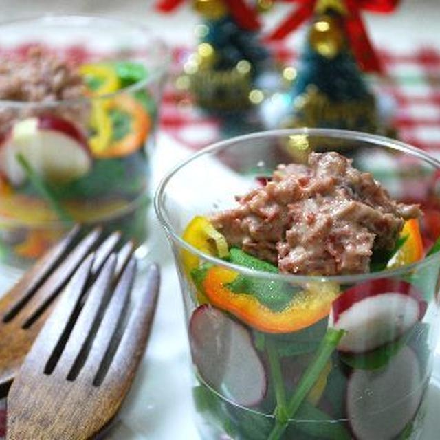 コーンビーフのカクテルサラダ(クリスマスバージョン)