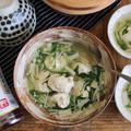 鶏団子×えのき×水菜の白だしさっと煮