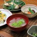 レシピ付き献立 あなごちらし・鮎の塩焼き・冬瓜の吉野冷やし汁・里芋、しいたけ、にんじんのの含め煮・いんげんのみそ和え