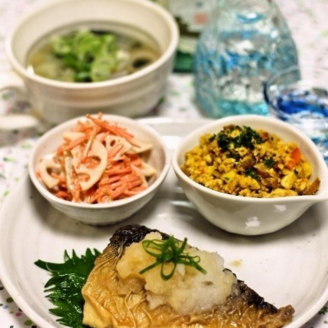 塩サバのみぞれ煮 / カレー風味いり豆腐