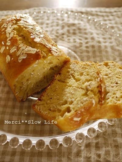 夏休みのおやつシリーズ♪ バター不使用でヘルシー オートミールパウンドケーキ