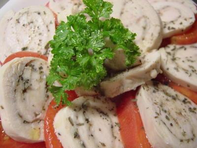 鶏ハムとトマトの前菜