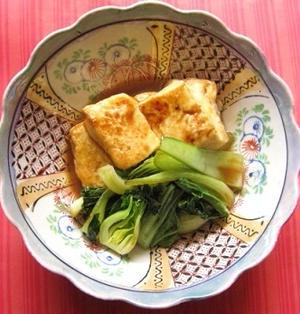 豆腐ソテーとちんげん菜のオイスター煮