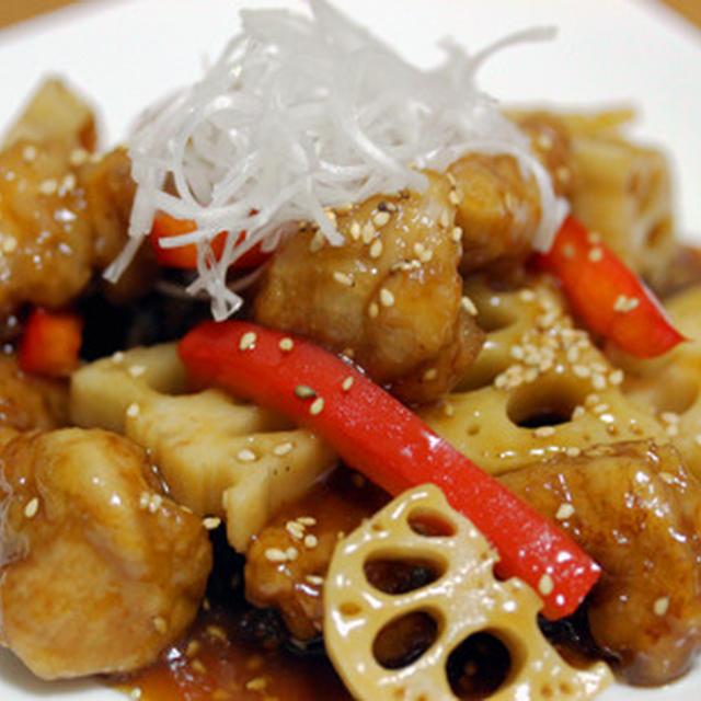 鶏肉とレンコンの黒酢炒め