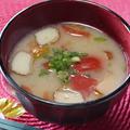 365日汁物レシピNo.213「さつま揚げとトマトの味噌汁」